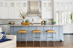 Baby Blue and White Cabinets
